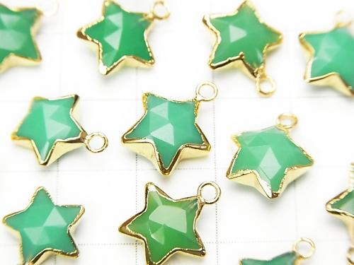 2pcs $11.79! Green color Chalcedony Faceted Star charm gold color 2pcs