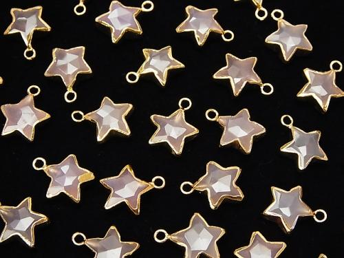 2pcs $11.79! Pink Chalcedony Faceted Star charm gold color 2pcs