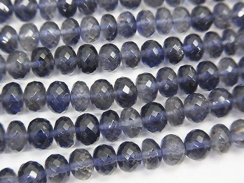 MicroCut!  High Quality Iolite AAA+ Faceted Button Roundel  1/4 or 1strand (aprx.15inch/38cm)