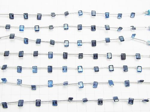 1strand $59.99! High Quality London Blue Topaz AAA Rectangle Faceted 7 x 5 mm 1strand (10pcs)