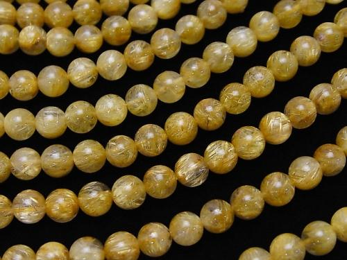 High quality Rutilated Quartz AAA Round 6 mm 1/4 or 1strand (aprx.15 inch / 38 cm)