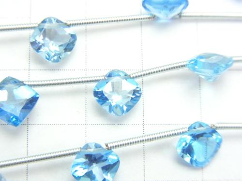 High Quality Swiss Blue Topaz AAA - Diamond Faceted 8 x 8 x 4 mm half or 1 strand (10 pcs)