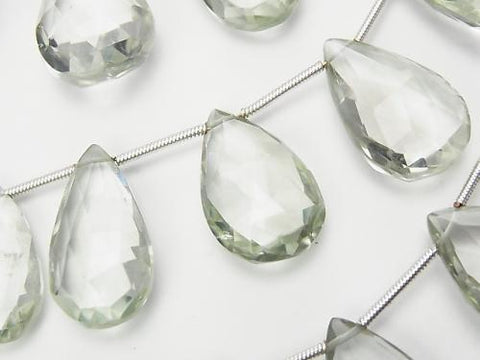 1 strand $34.99! High Quality Green Amethyst AAA - Pear shape Faceted Briolette 1strand (aprx.7inch / 18 cm)