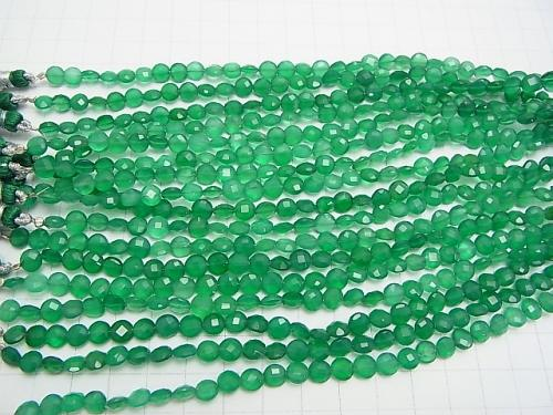 High Quality Green Onyx AAA Faceted Coin 6 x 6 x 4 mm half or 1 strand (apr x 6 inch / 16 cm)