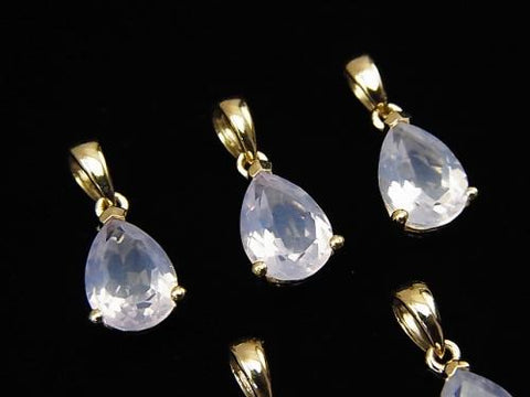 High Quality Scorolite AAA Pear shape Faceted  Pendant 9x6mm 18KGP