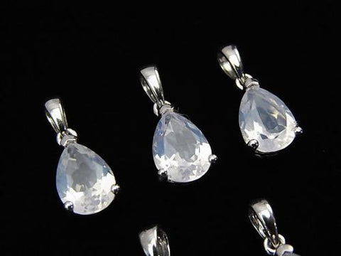 High Quality Scorolite AAA Pear shape Faceted  Pendant 9x6mm Silver925