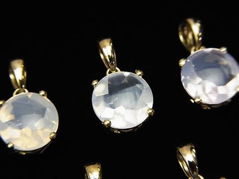 High Quality Scorolite AAA Coin Faceted 8x8mm Pendant  18KGP