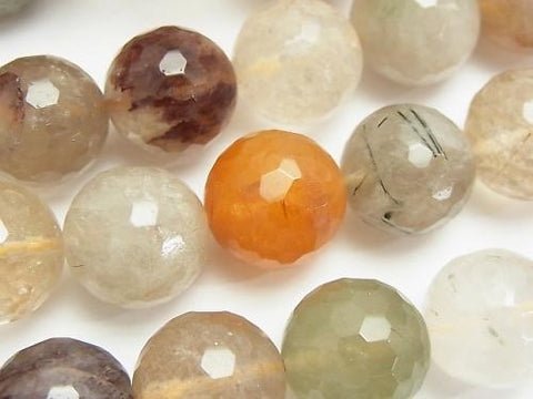 Multicolor Rutilated Quartz AA + 128 Faceted Round 16 mm half or 1 strand (aprx.15 inch / 36 cm)