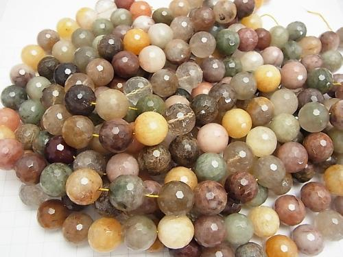Multicolor Rutilated Quartz AA + 128 Faceted Round 18 mm half or 1 strand (aprx.15 inch / 36 cm)