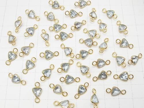 High Quality Sky Blue Topaz AAA Bezel Setting Triangle Faceted 7 x 7 mm [Both Side] 18 KGP 5 pcs $9.79!