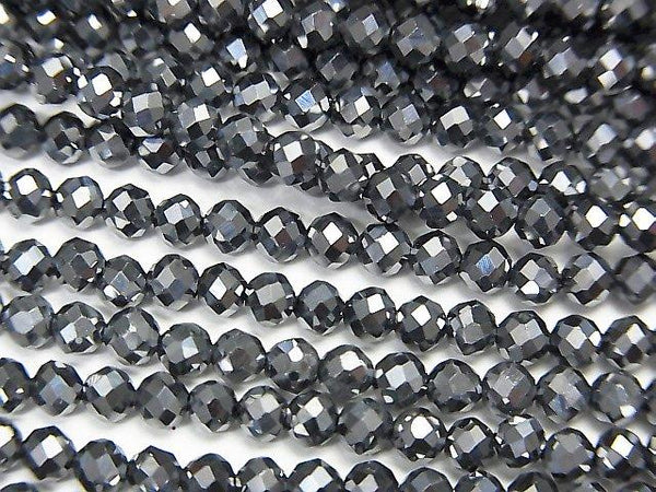 Sale! Diamond Cut! 2pcs $9.79! Terahertz Round - Semi Faceted Round 3mm 1strand (aprx.15inch / 37cm)