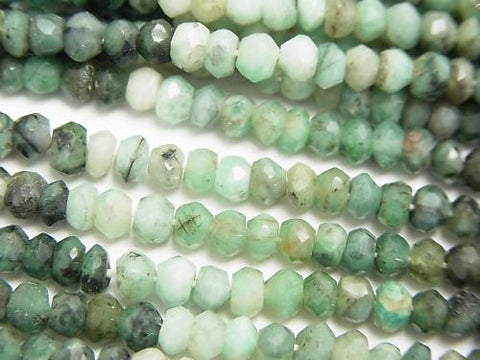 1strand $13.99! Brazil Emerald AA Small Size Faceted Button Roundel 1strand (aprx.13inch / 32cm)