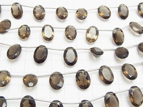 High Quality Smoky Crystal Quartz AAA Oval Faceted 14x10x6mm half or 1strand (10pcs )