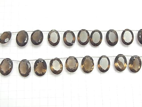 High Quality Smoky Crystal Quartz AAA Oval Faceted 22x16x8mm half or 1strand (10pcs )