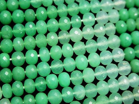 MicroCut!  High Quality Chrysoprase AAA++ Faceted Button Roundel  1/4 or 1strand (aprx.15inch/38cm)