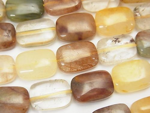 Multicolor Rutilated Quartz AA + Rectangle 14x10x5mm half or 1strand (aprx.15inch / 37cm)
