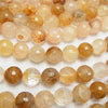 Yellow Hematite Quartz 128 Faceted Round 14 mm half or 1 strand (aprx. 14 inch / 35 cm)