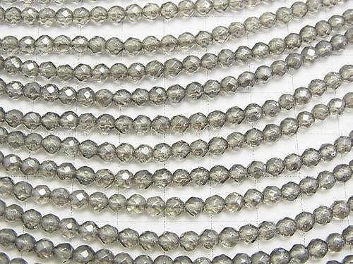 Silver flash crystal 32 Faceted Round 4 mm half or 1 strand (aprx. 15 inch / 37 cm)