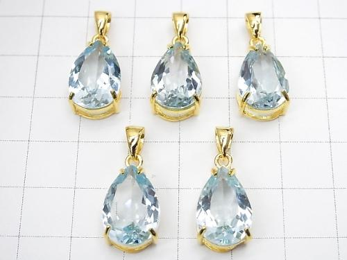 1 pc $19.99! High Quality Sky Blue Topaz AAA Pear shape Faceted Pendant 15 x 10 mm 18 KGP