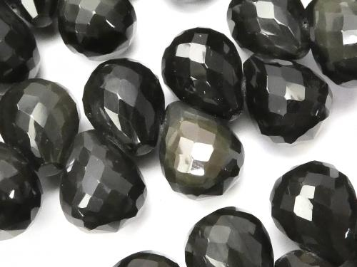 Rainbow Obsidian Drop Faceted Briolette 12 x 10 x 10 mm 10 pcs or 1 strand (Bracelet)