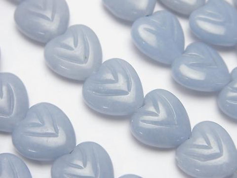 Angelite carved Vertical Hole Heart 12 x 12 x 5 mm half or 1 strand (aprx.15 inch / 36 cm)