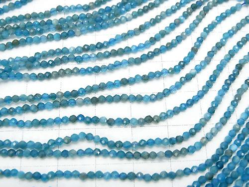 1strand $9.79! Diamond Cut! Blue Apatite AA ++ Faceted Round 2mm 1strand (aprx.15inch / 38cm)