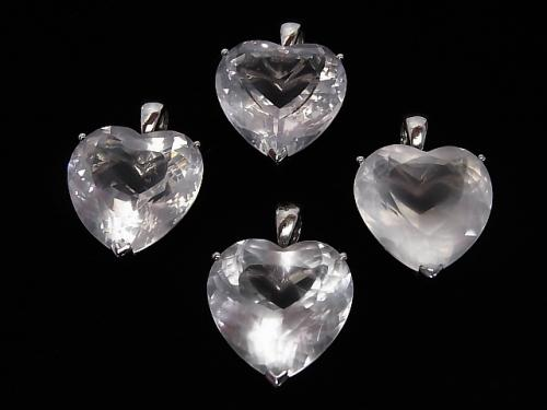 High Quality Madagascar Rose Quartz AAA Heart Faceted Pendant [S] [M] 1 pc