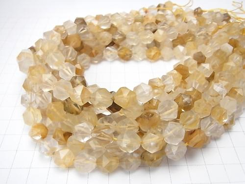 Yellow Hematite Quartz 24 Faceted Round 10 mm half or 1 strand (aprx.15 inch / 36 cm)