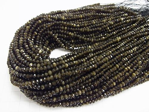 1strand $9.79! Diamond Cut! Golden Shine Obsidian AAA Faceted Button Roundel 4 x 4 x 3 mm 1 strand (aprx.15 inch / 37 cm)