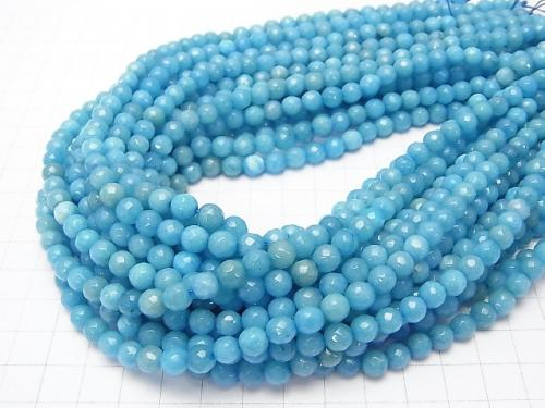1strand $3.79! Blue Color Jade 128Faceted Round 6mm 1strand (aprx.15inch / 36cm)