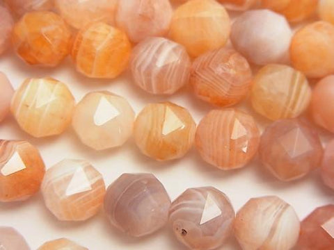 Diamond Cut! Light Orange Botswana Agate Star Faceted Round 10mm half or 1strand (aprx.15inch / 38cm)