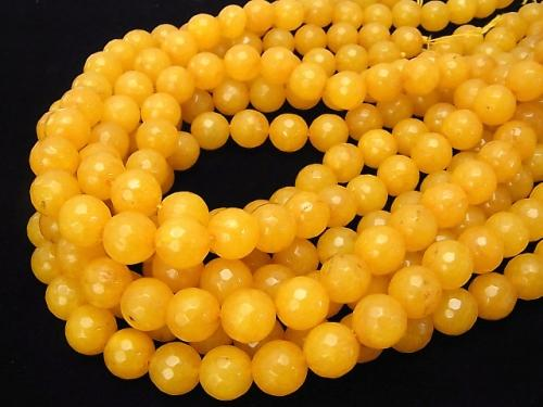 1strand $6.79! Yellow Color Jade 128 Faceted Round 12 mm 1strand (aprx.15 inch / 36 cm)