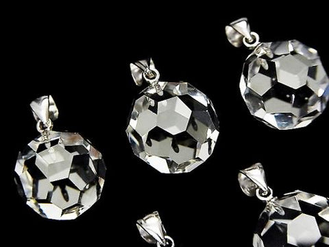 "1 pc $9.79! Crystal AAA + ""Buckyball"" Faceted Round 14 mm Pendant Silver 925"