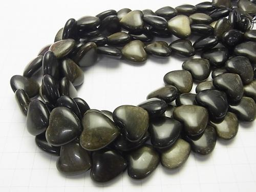 Golden Shine Obsidian AAA Vertical Hole Heart 19 x 20 x 8 mm half or 1 strand (aprx.15 inch / 38 cm)