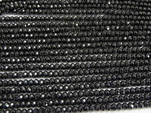 Diamond Cut! Black Tourmaline AAA Faceted Button Roundel 5 x 5 x 3 mm 1 strand (aprx.15 inch / 37 cm)