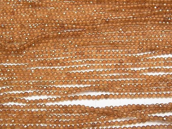 [Video] High Quality! Hessonite Garnet AAA Faceted Round 2mm 1strand (aprx.15inch/38cm)