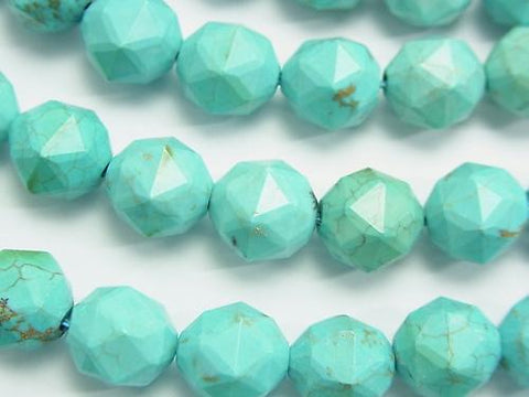 Diamond Cut! 1strand $9.79! Magnesite Turquoise Star Faceted Round 10mm 1strand (aprx.15inch / 36cm)
