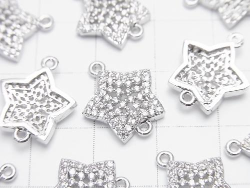 2pcs $3.79! Metal Parts Star Motif Both Side Charm 15x13mm Silver Color (with CZ) 2pcs