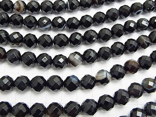 Stripe Onyx 64 Faceted Round 10 mm half or 1 strand (aprx.15 inch / 38 cm)