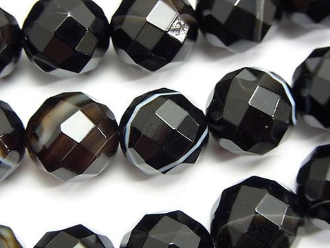 Stripe Onyx 64 Faceted Round 14 mm half or 1 strand (aprx. 15 inch / 36 cm)
