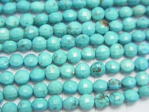 Diamond Cut!  1strand $8.79! Magnesite Turquoise  Faceted Coin 4x4x3mm 1strand (aprx.15inch/37cm)