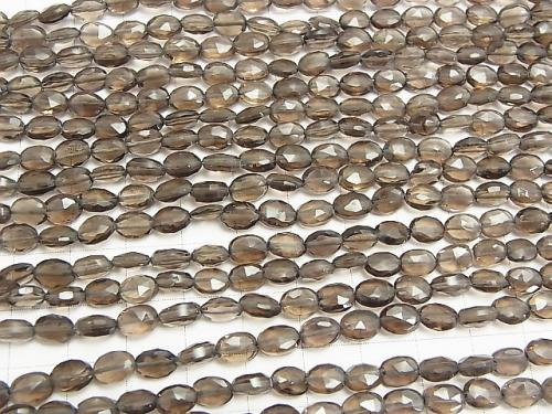 1strand $14.99! Smoky Crystal Quartz AA ++ Faceted Oval [Medium Color] 1strand (aprx.13inch / 31cm)