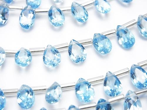 High Quality Swiss Blue Topaz AAA Pear shape Faceted 8 x 5 mm half or 1 strand (20 pcs)