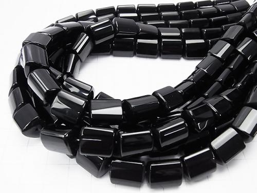Onyx  Triangle Faceted Tube 14x11x11mm half or 1strand (aprx.15inch/38cm)