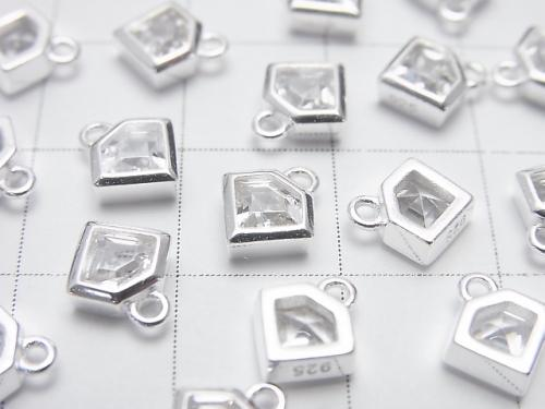 2 pcs $5.79! Silver 925 Diamond motif 8 x 7 x 2.5 mm charm (with CZ) [No coating] 2 pcs