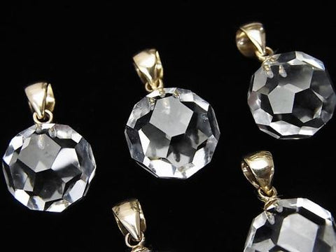 "1 pc $11.79! Crystal AAA + ""Buckyball"" Faceted Round 12 mm Pendant 14 KGP"