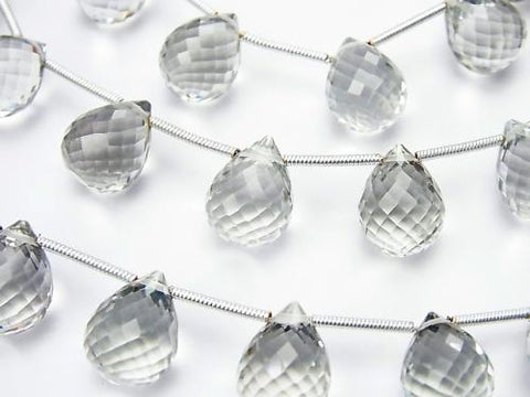 High Quality Green Amethyst AAA Drop Faceted Briolette 12 x 9 x 9 mm half or 1 strand (aprx.5 inch / 12 cm)