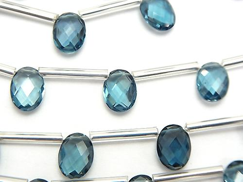 High Quality London Blue Topaz AAA Faceted Oval (Cushion Cut) 8 x 6 mm 1 strand (10 pcs)
