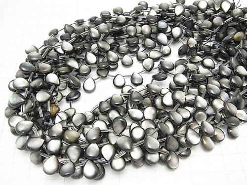 High quality Black Shell (Black-lip Oyster) AAA Pear shape (Smooth) 10 x 8 x 4 mm 1/4 or 1strand (aprx.15 inch / 38 cm)