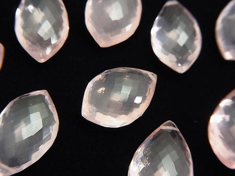 MicroCut!  High Quality Rose Quartz AAA Marquise  Faceted Briolette  3pcs